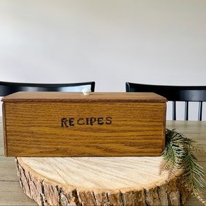 Vintage Wood Double Recipe Box with Lid Home Decor